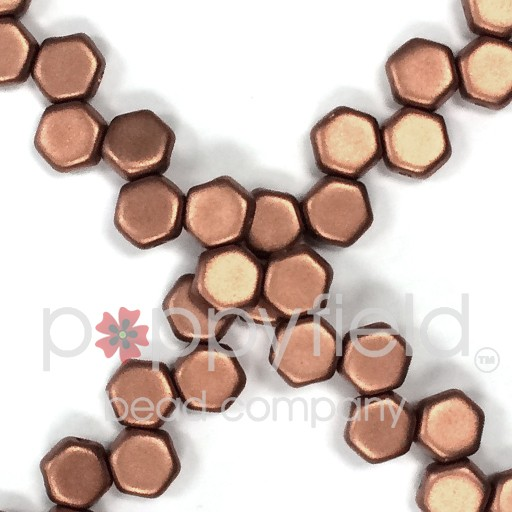 Czech 2-hole Honeycomb, 6 mm, Matte Metallic Copper, 30 pcs/strand