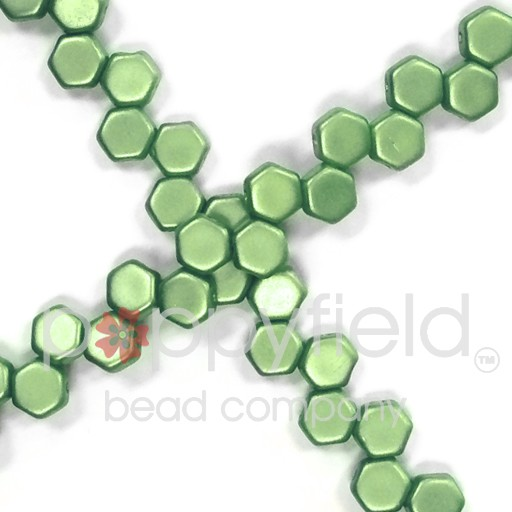 Czech 2-hole Honeycomb, 6 mm, Pastel Olivine, 30 pcs/strand