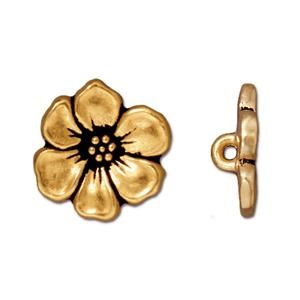 Apple Blossom Button, Gold