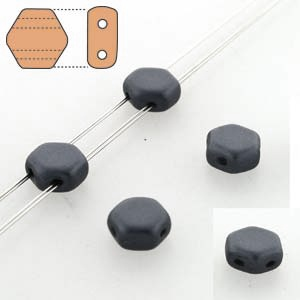 Czech 2-hole Honeycomb, 6 mm, Jet, 30 pcs/strand