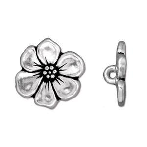 Apple Blossom Button, Silver