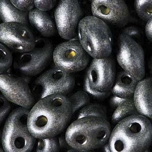 Czech Twin Beads, Jet Khaki Pearl, 25 gm tube