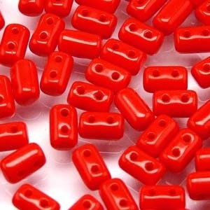 Czech Rulla Beads, Opaque Coral Red, 25 g