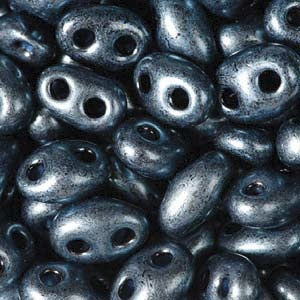 Czech Twin Beads, Jet Midnight Blue Pearl, 25 gm tube