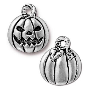 Helby Jack-o-lantern Charm, Antique Silver