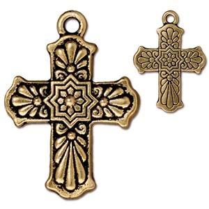 Helby Talavera Cross Charm, Antique Gold