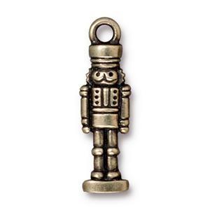 Helby Nutcracker Charm, Oxidized Brass
