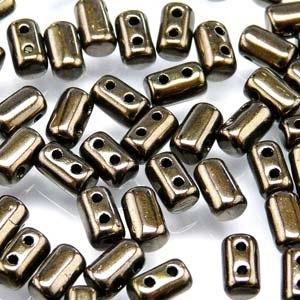 Czech Rulla Beads, Jet Copper Lustre, 25g