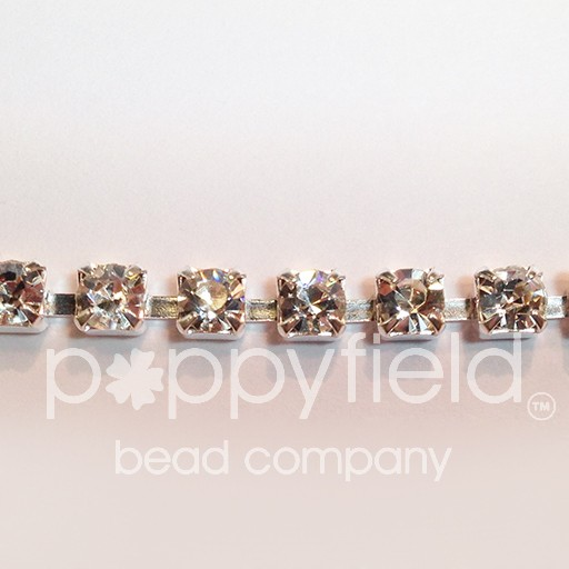Czech 2.2 mm Crystal AB rhinestones in Silver-plated banding