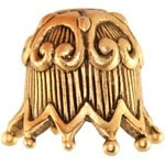 Fluted Ric Rac Bead Cap, Gold-tone with Oxidized Finish, 1 pc.