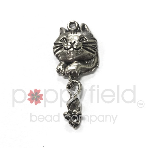 Cat & Mouse Charm, Pewter