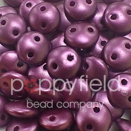 Czech 2-HOLE-LENTIL, 6 mm, Purple Velvet Pearl, 50pcs