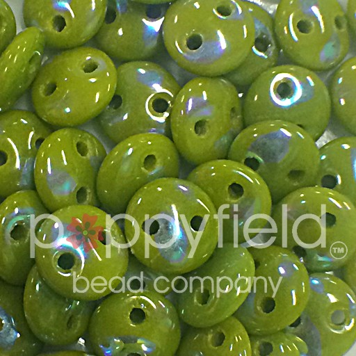 Czech 2-HOLE LENTIL, 6 mm, Opaque Olive Peacock