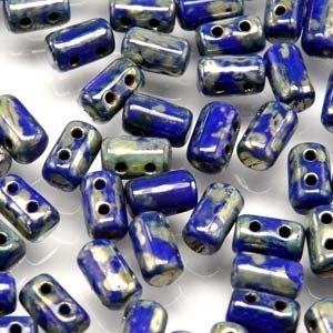 Czech Rulla Beads, Opaque Blue Picasso, 25g