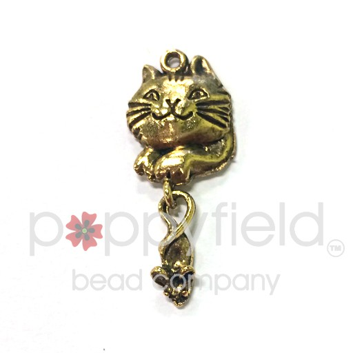 Cat & Mouse Charm, Antique Gold