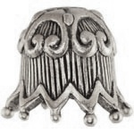 Fluted Ric Rac Bead Cap, Silver-tone with Oxidized Finish, 1 pc.