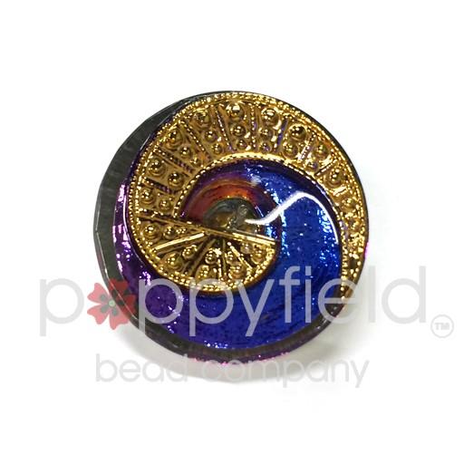 Czech Czech Button, 22 mm, Blue Purple Swirl