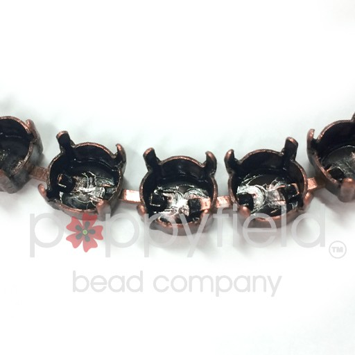 Bracelet settings for 39ss chatons, Antiqued Copper finish has a nice vintage oxidized look.