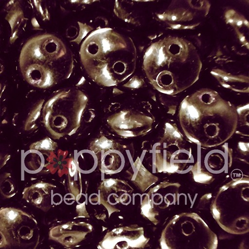 Czech 2-HOLE-LENTIL, 6 mm, Dark Metallic Bronze