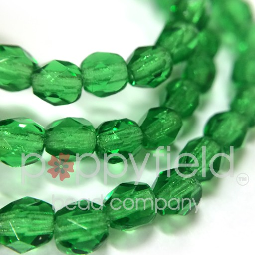 Czech Czech Fire Polish, 4 mm, Green Emerald, 50 Pcs
