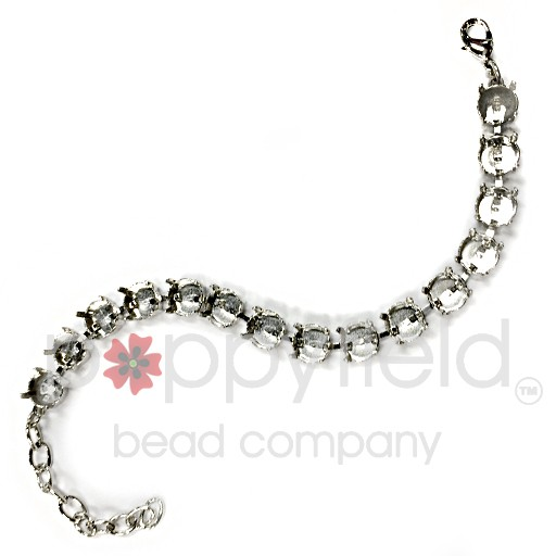 Bracelet settings for 39ss chatons, Rhodium plated looks like bright silver.