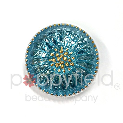 Czech Czech Button, 18 mm, Aqua Daisy