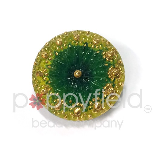 Czech Czech Button, 22 mm, Green Yellow Flower