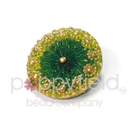 Czech Czech Button, 22 mm, Green Yellow Flower