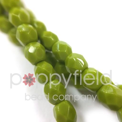 Czech Czech Fire Polish, 3 mm, Opaque Olive, 50 pcs