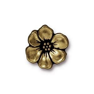 Apple Blossom Button, Brass Oxide
