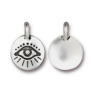 Helby Evil Eye Charm, Antique Silver