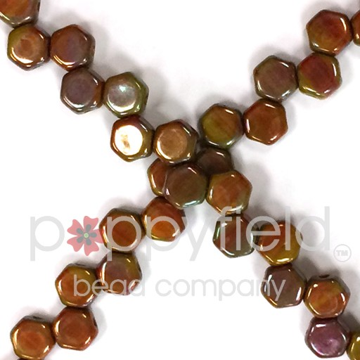 Czech 2-hole Honeycomb, 6 mm, Hodge Podge Orange Nebula, 30 pcs/strand