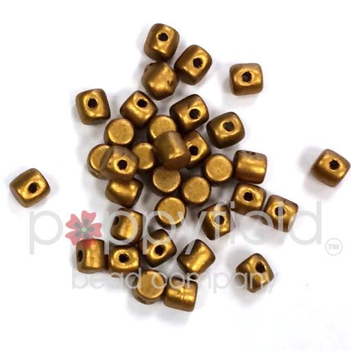 Czech Minos, 2.5 x 3mm, Bronze Gold Matte, 10g