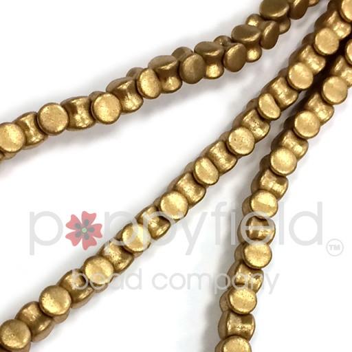 Czech Pellet Beads, 4x6mm, Matte Gold, 30 pcs