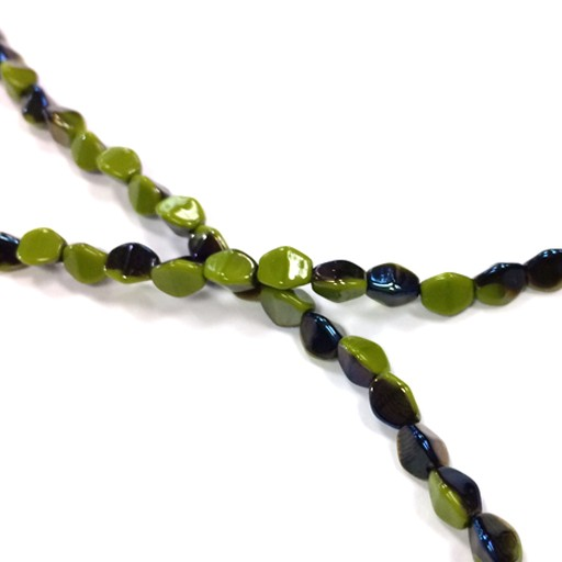 Czech Pinch Beads, 5 mm, Blue Iris / Olivine, 50 pcs