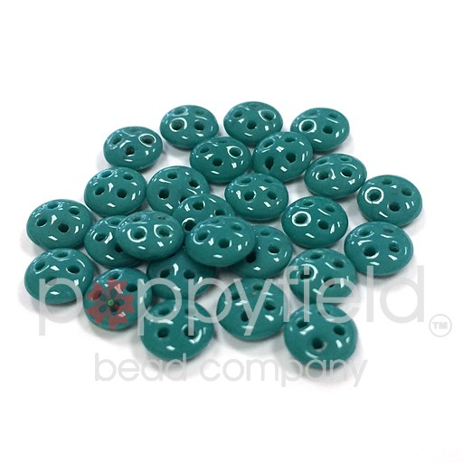 Czech 4-Hole Lentil Beads, 6 mm, Persian Turquoise, 10g (approx. 80 pcs.)