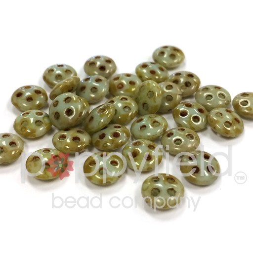 Czech 4-Hole Lentil Beads, 6 mm, Opaque Pale Turquoise Picasso, 10g (approx. 80 pcs.)
