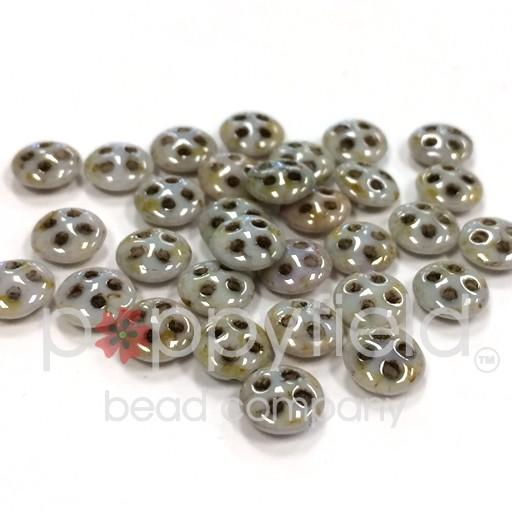 Czech 4-Hole Lentil Beads, 6 mm, Opaque Luster Green, 10g (approx. 80 pcs.)
