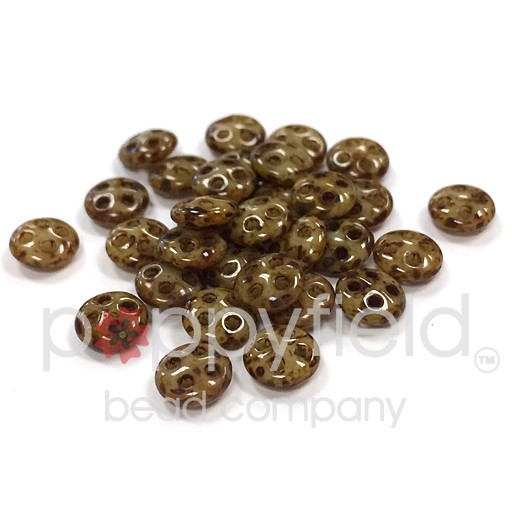 Czech 4-Hole Lentil Beads, 6 mm, Opaque Light Beige Picasso, 10g (approx. 80 pcs.)