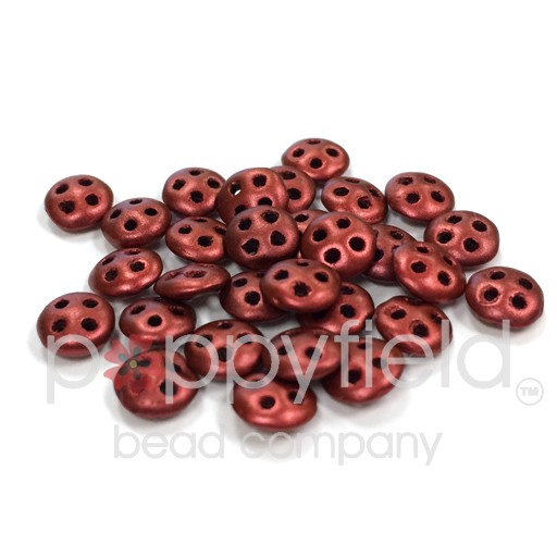 Czech 4-Hole Lentil Beads, 6 mm, Matte Metallic Lava, 10g (approx. 80 pcs.)