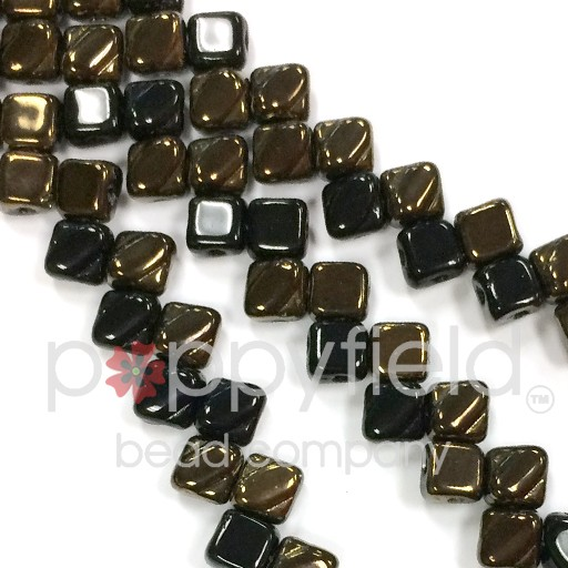 Czech 2 Hole Silky Beads, Jet Valentine, 40 Pcs