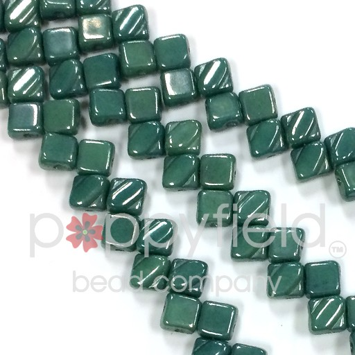 Czech 2 Hole Silky Beads, Green Opaque Blue Luster, 40 Pcs
