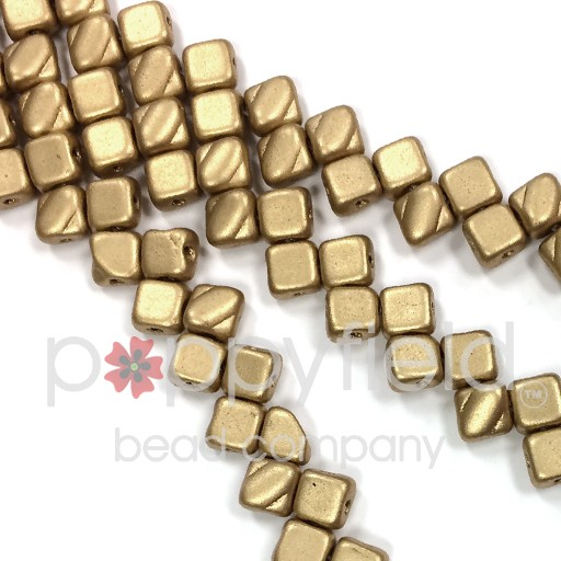 Czech 2 Hole Silky Beads, Crystal Broze Pale Gold, 40 Pcs