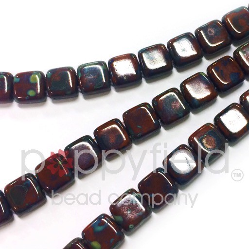 Czech 2 Holed Tile Beads, 6 mm, Umber Picasso, 50 pcs