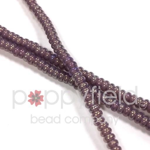 Czech Rondelles, 3mm, Luster Iris Milky Amethyst, 100 pcs