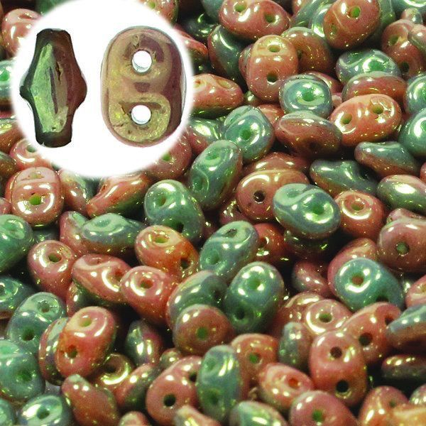 Czech Superduos, Duet, Green Turquoise Green / Ivory Red Luster, 25g