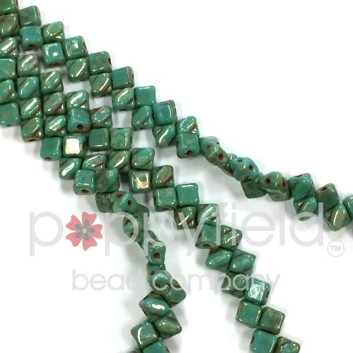 Czech Mini-Silky, 5 mm, Green Turquoise Picasso, 40 pcs