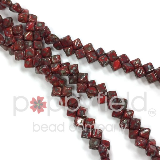 Czech Mini-Silky, 5 mm, Red Picasso, 40 pcs