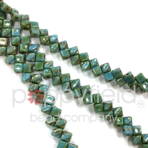 Czech Mini-Silky, 5 mm, Blue Turquoise Picasso, 40 pcs