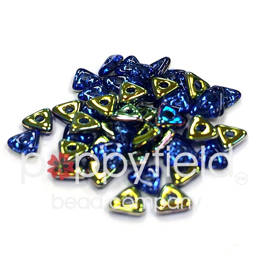 Czech Tri Beads, 4.6 mm, Sapphire Vitrail, 7gm Tube